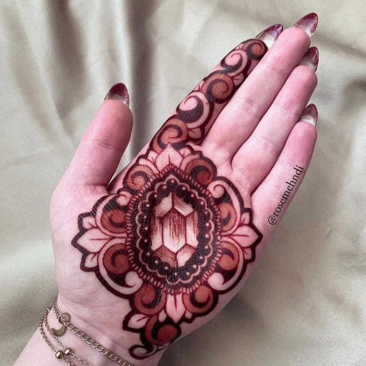 easy mehndi design open hand