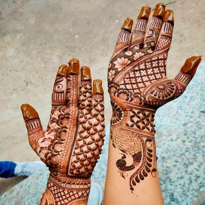 Open Hand Mehndi Ka Design